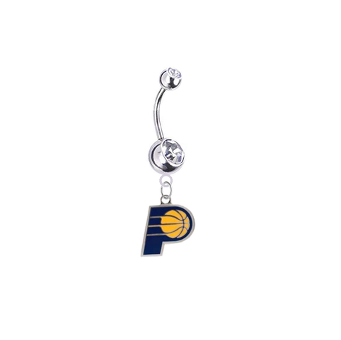 Indiana Pacers Silver Clear Swarovski Belly Button Navel Ring - Customize Gem Colors