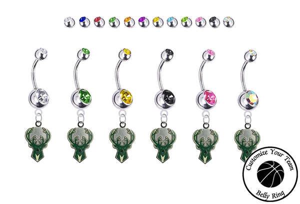 Milwaukee Bucks Silver Swarovski Belly Button Navel Ring - Customize Gem Colors