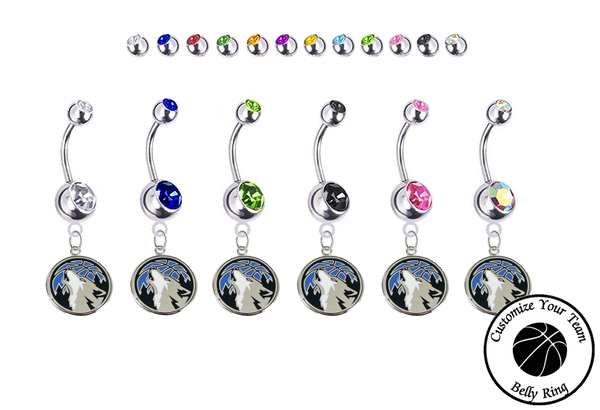 Minnesota Timberwolves Silver Swarovski Belly Button Navel Ring - Customize Gem Colors