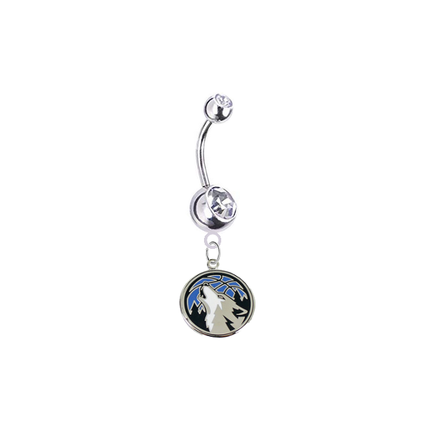 Minnesota Timberwolves Silver Clear Swarovski Belly Button Navel Ring - Customize Gem Colors