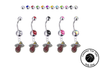 Miami Heat Silver Swarovski Belly Button Navel Ring - Customize Gem Colors