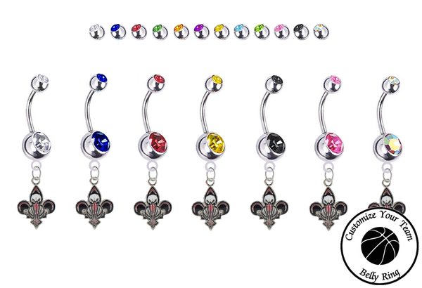 New Orleans Pelicans Silver Swarovski Belly Button Navel Ring - Customize Gem Colors