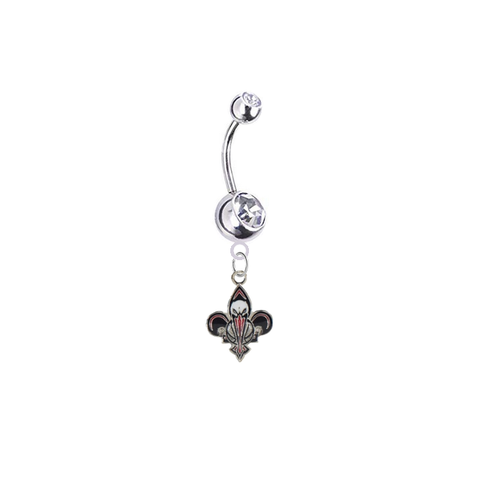 New Orleans Pelicans Silver Clear Swarovski Belly Button Navel Ring - Customize Gem Colors