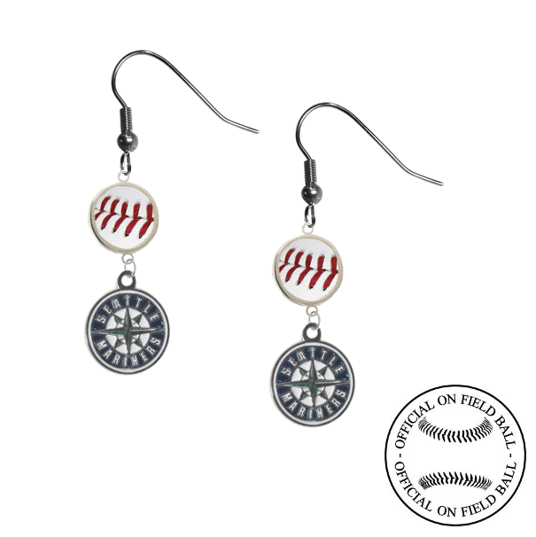 Seattle Mariners MLB Authentic Rawlings On Field Leather Baseball Dangle Earrings