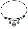 Seattle Mariners Black MLB Expandable Wire Bangle Charm Bracelet