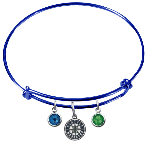 Seattle Mariners Blue MLB Expandable Wire Bangle Charm Bracelet