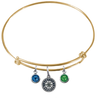 Seattle Mariners Gold MLB Expandable Wire Bangle Charm Bracelet