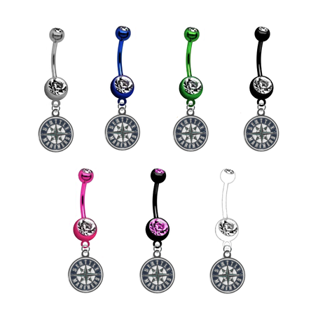 Seattle Mariners MLB Baseball Belly Button Navel Ring - Pick Your Color