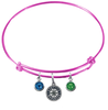 Seattle Mariners Pink MLB Expandable Wire Bangle Charm Bracelet