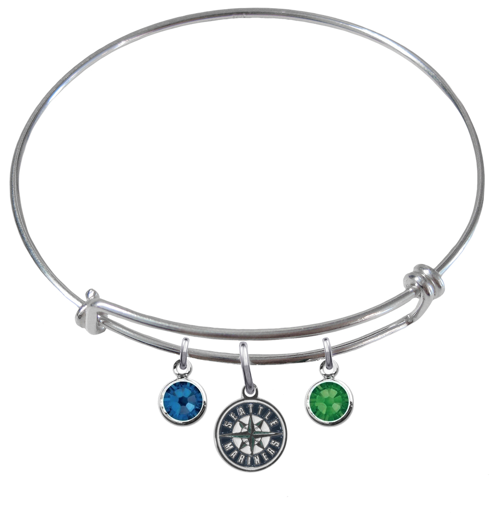 Seattle Mariners MLB Expandable Wire Bangle Charm Bracelet