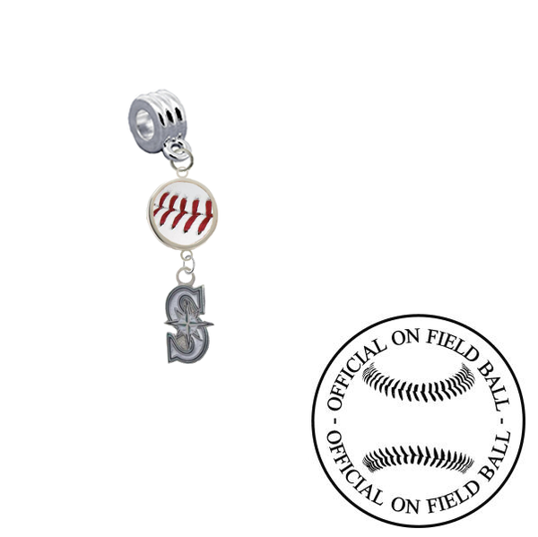 Seattle Mariners 2 On Field Baseball Universal European Bracelet Charm (Pandora Compatible)