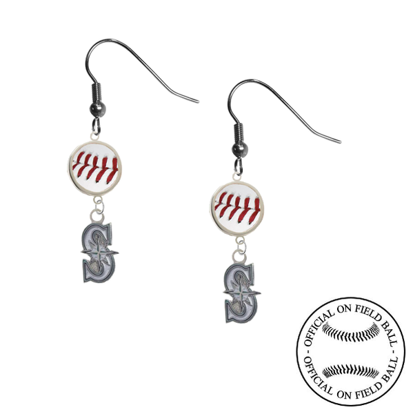 Seattle Mariners Style 2 MLB Authentic Rawlings On Field Leather Baseball Dangle Earrings