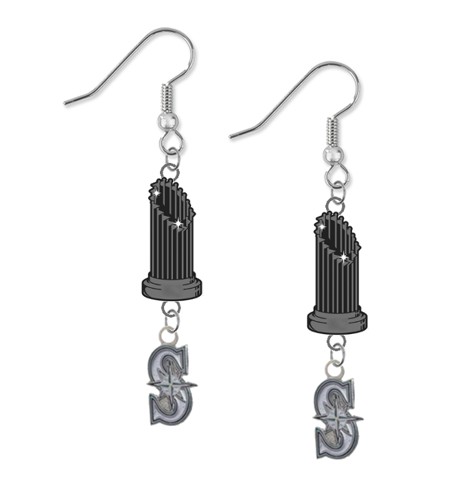 Seattle Mariners Style 2 MLB World Series Trophy Dangle Earrings