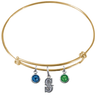 Seattle Mariners Style 2 Gold MLB Expandable Wire Bangle Charm Bracelet