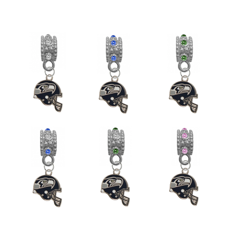 Seattle Seahawks Helmet NFL Football Crystal Rhinestone European Bracelet Charm