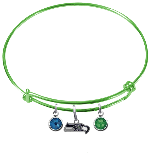 Seattle Seahawks Lime Green NFL Expandable Wire Bangle Charm Bracelet