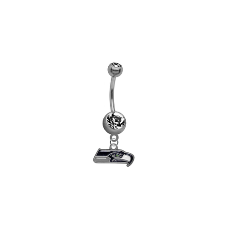 Seattle Seahawks NFL Football Belly Button Navel Ring