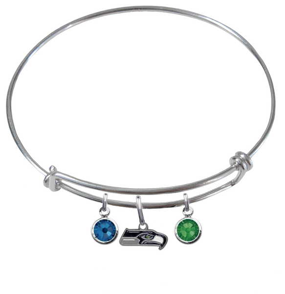 Seattle Seahawks NFL Expandable Wire Bangle Charm Bracelet