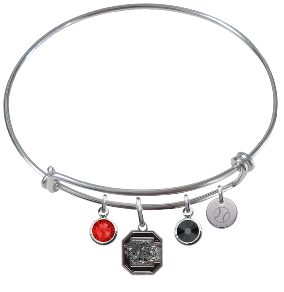 South Carolina Gamecocks Baseball Expandable Wire Bangle Charm Bracelet