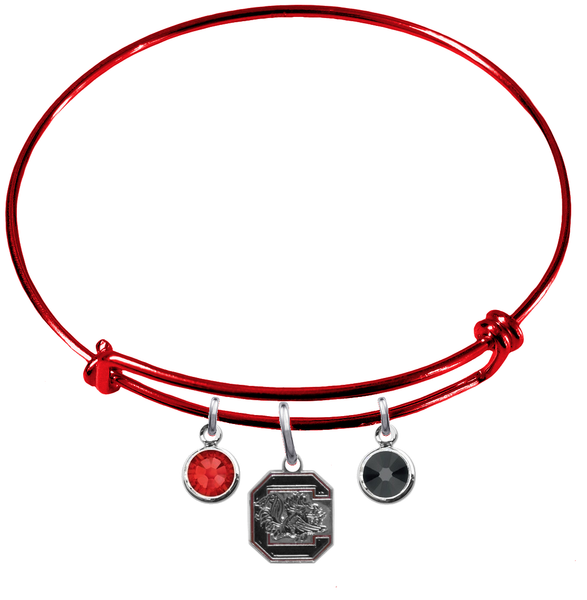 South Carolina Gamecocks RED Color Edition Expandable Wire Bangle Charm Bracelet