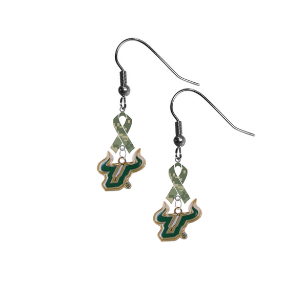 South Florida Bulls Salute to Service Camouflage Camo Ribbon Dangle Earrings