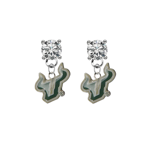 South Florida Bulls CLEAR Swarovski Crystal Stud Rhinestone Earrings