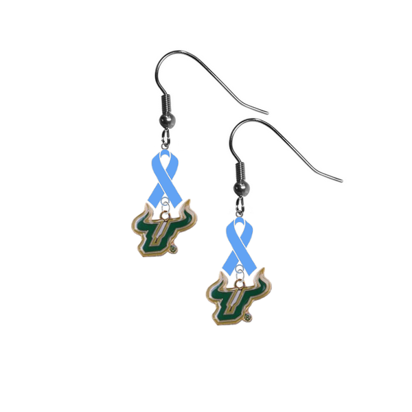 South Florida Bulls Prostate Cancer Awareness Light Blue Ribbon Dangle Earrings