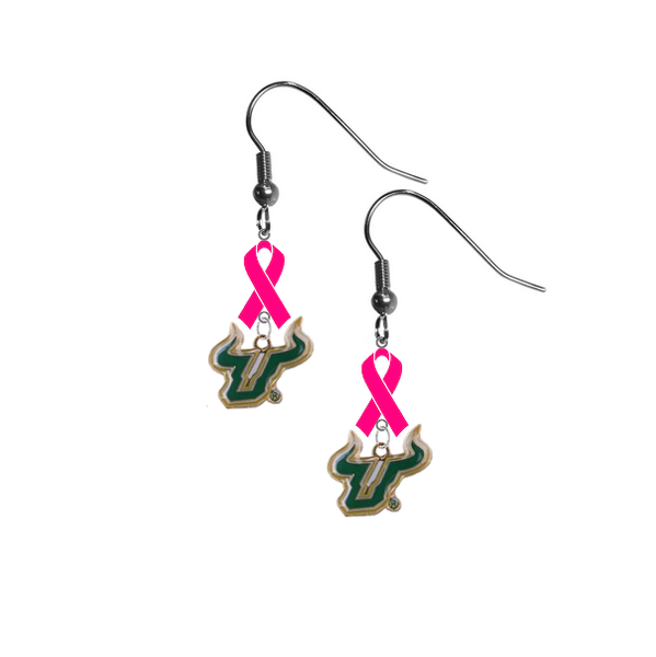 South Florida Bulls Breast Cancer Awareness Hot Pink Ribbon Dangle Earrings
