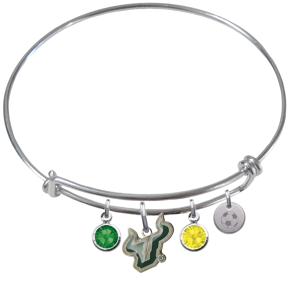 South Florida Bulls Soccer Expandable Wire Bangle Charm Bracelet