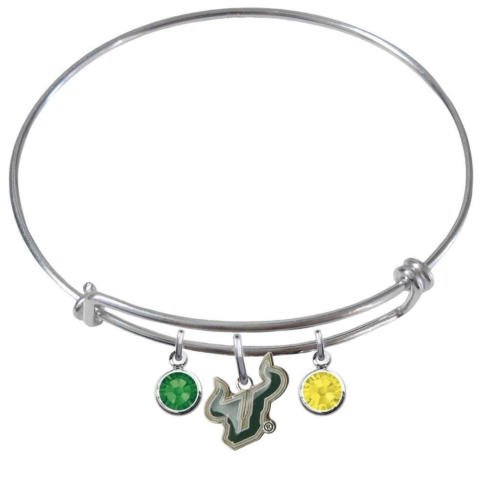 South Florida Bulls NCAA Expandable Wire Bangle Charm Bracelet