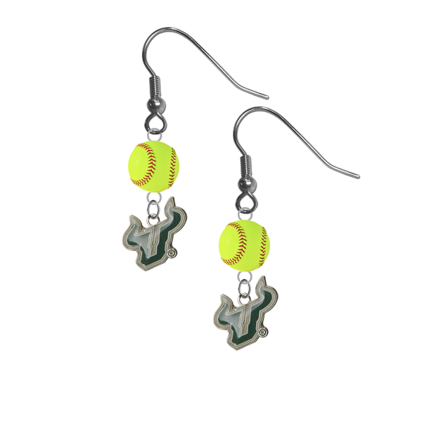 South Florida Bulls NCAA Fastpitch Softball Dangle Earrings