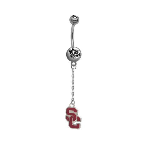 USC Southern California Trojans Style 2 Dangle Chain Belly Button Navel Ring