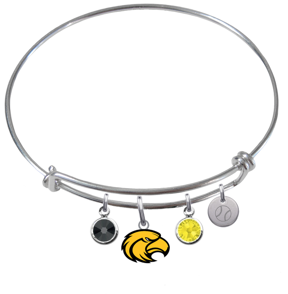 Southern Miss Golden Eagles Baseball Expandable Wire Bangle Charm Bracelet