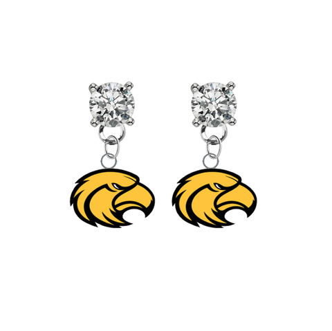 Southern Miss Golden Eagles CLEAR Swarovski Crystal Stud Rhinestone Earrings