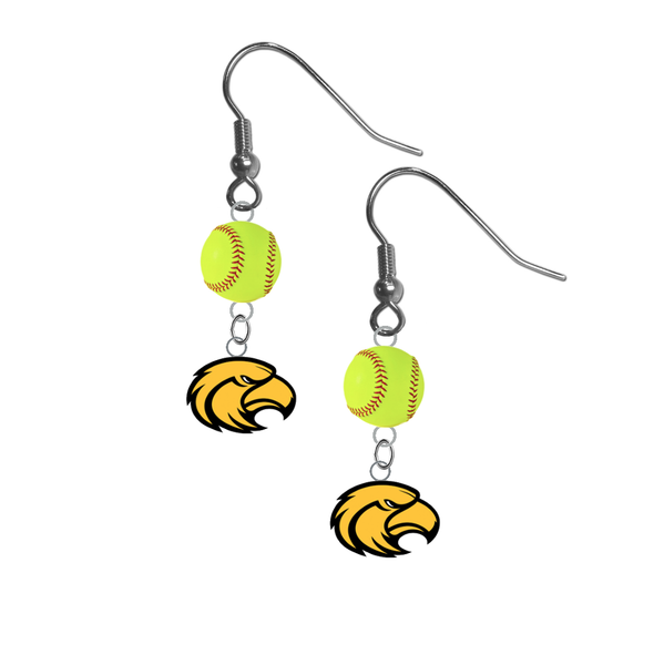 Southern Miss Golden Eagles NCAA Fastpitch Softball Dangle Earrings