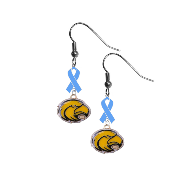 Southern Miss Mississippi Golden Eagles Prostate Cancer Awareness Light Blue Ribbon Dangle Earrings