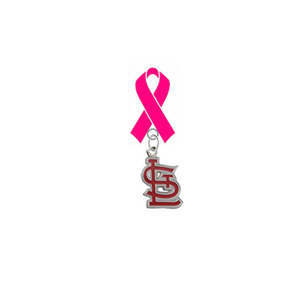 St Louis Cardinals Style 2 MLB Breast Cancer Awareness / Mothers Day Pink Ribbon Lapel Pin