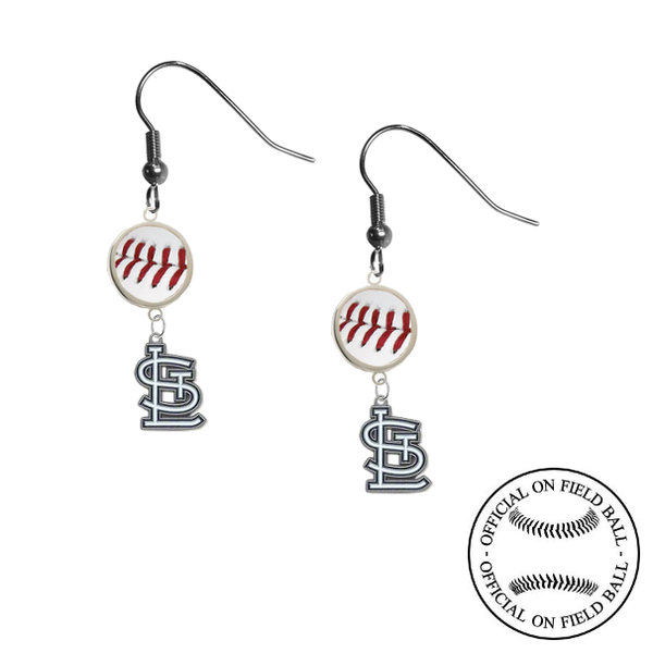 St Louis Cardinals MLB Authentic Rawlings On Field Leather Baseball Dangle Earrings
