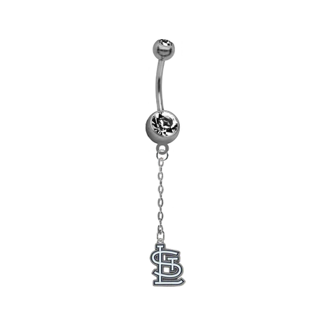 St Louis Cardinals Dangle Chain Belly Button Navel Ring