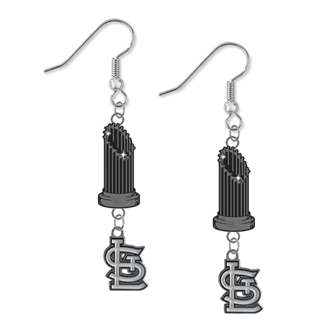 St Louis Cardinals MLB World Series Trophy Dangle Earrings