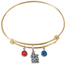 St Louis Cardinals Gold MLB Expandable Wire Bangle Charm Bracelet