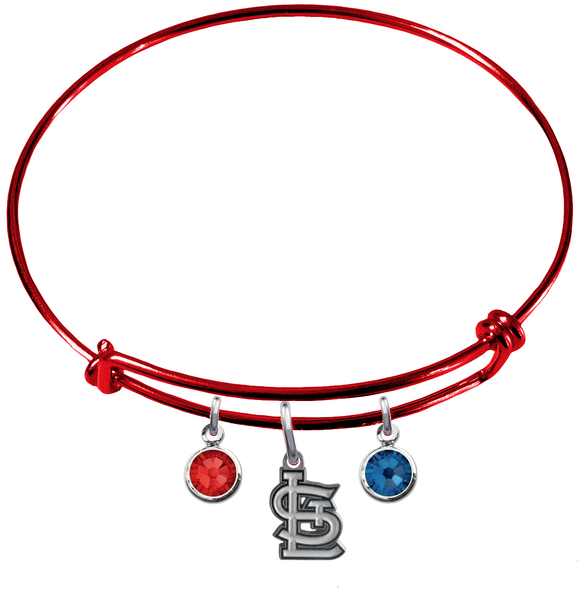 St Louis Cardinals Red MLB Expandable Wire Bangle Charm Bracelet
