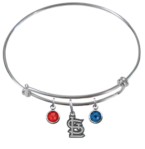 St Louis Cardinals MLB Expandable Wire Bangle Charm Bracelet