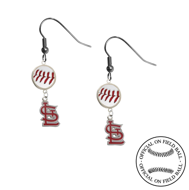 St Louis Cardinals Style 2 MLB Authentic Rawlings On Field Leather Baseball Dangle Earrings