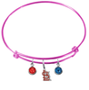 St Louis Cardinals Style 2 Pink MLB Expandable Wire Bangle Charm Bracelet