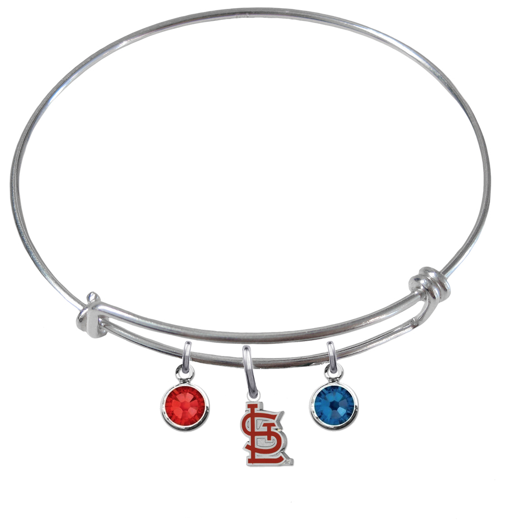 St Louis Cardinals Style 2 MLB Expandable Wire Bangle Charm Bracelet