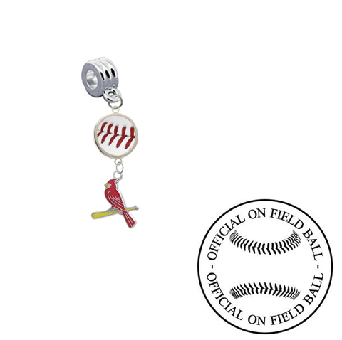 St Louis Cardinals 3 On Field Baseball Universal European Bracelet Charm (Pandora Compatible)