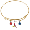St Louis Cardinals Style 3 Gold MLB Expandable Wire Bangle Charm Bracelet