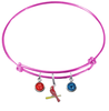 St Louis Cardinals Style 3 Pink MLB Expandable Wire Bangle Charm Bracelet