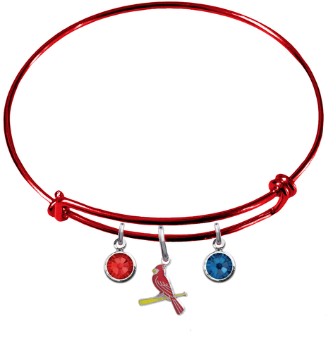St Louis Cardinals Style 3 Red MLB Expandable Wire Bangle Charm Bracelet